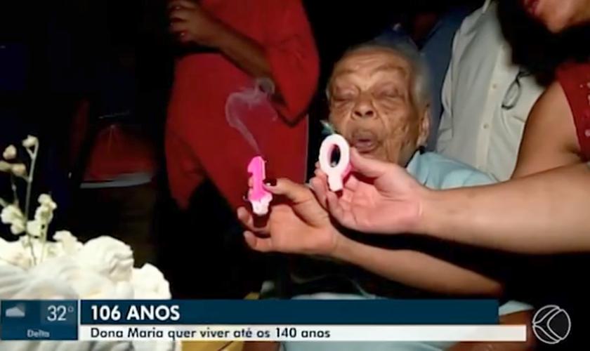 Moradora de Uberaba celebra 106 anos com festa de aniversário. (Foto: Reprodução/TV Globo)