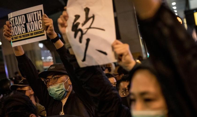 Protestos em Hong Kong reivindicam democracia. (Foto: Chris McGrath/Getty)
