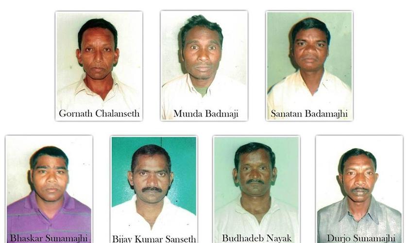 Os sete cristãos condenados e presos em 2013 pelo assassinato de um hindu. (Foto: Reprodução/Asia News)
