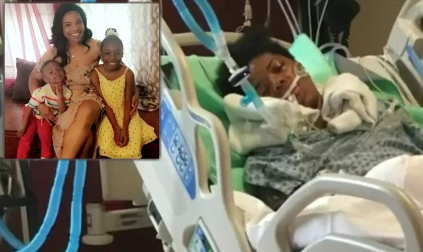 Kertisha Brabson durante o coma e hoje saudável com as filhas. (Foto: Reprodução/GodUp)