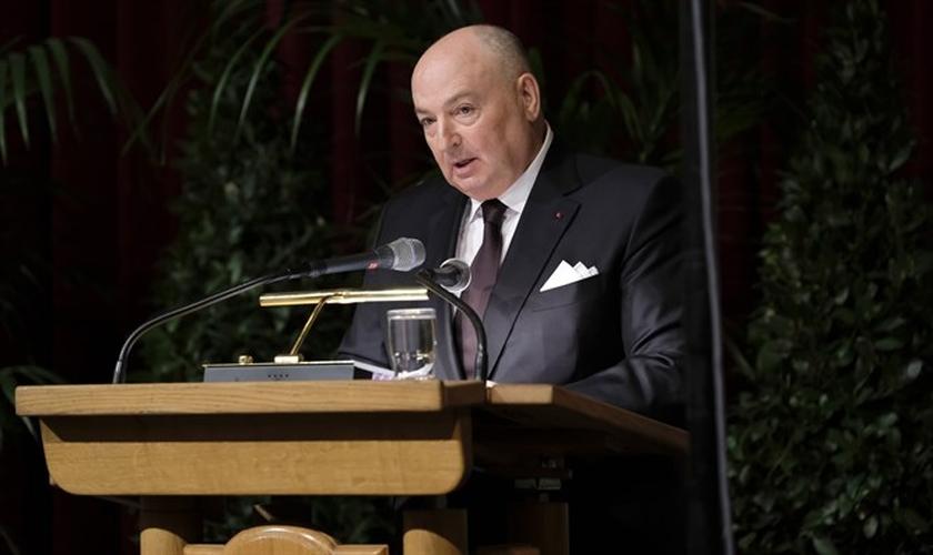 Moshe Kantor, Presidente do Fórum Mundial do Holocausto discursa para líderes mundiais, em Jerusalém. (Foto: Reprodução/Arutz Sheva)