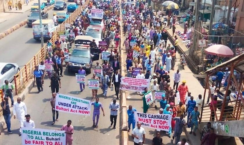 5 milhões de cristãos marcham em 28 dos 36 estados da nigerianos. (Foto: Reprodução / CAN).