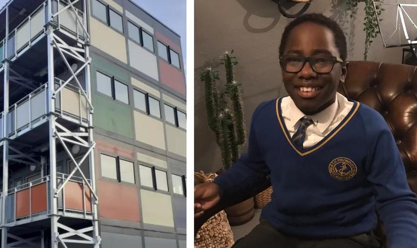Malachi Justin e o prédio construído com doações iniciadas a partir da oferta do menino de 10 anos. (Foto: Reprodução/Premier)