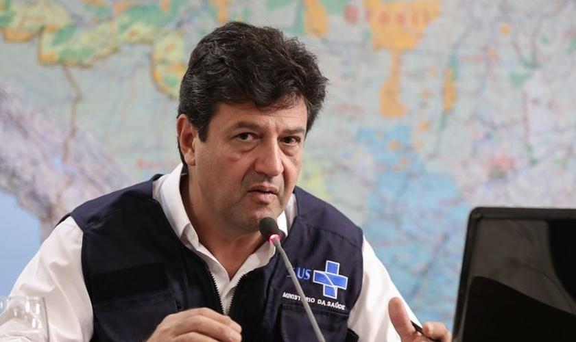 Ministro da Saúde, Luiz Henrique Mandetta, em videoconferência com governadores do Centro-Oeste. (Foto: Marcos Corrêa/PR)