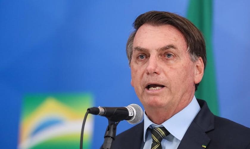 Presidente Jair Bolsonaro durante declaração à imprensa. (Foto: Isac Nóbrega/PR)