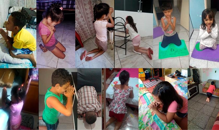 Crianças do Projeto Kids Crescer e Vencer oram para que Deus acabe com a pandemia. (Foto: Reprodução/Facebook)