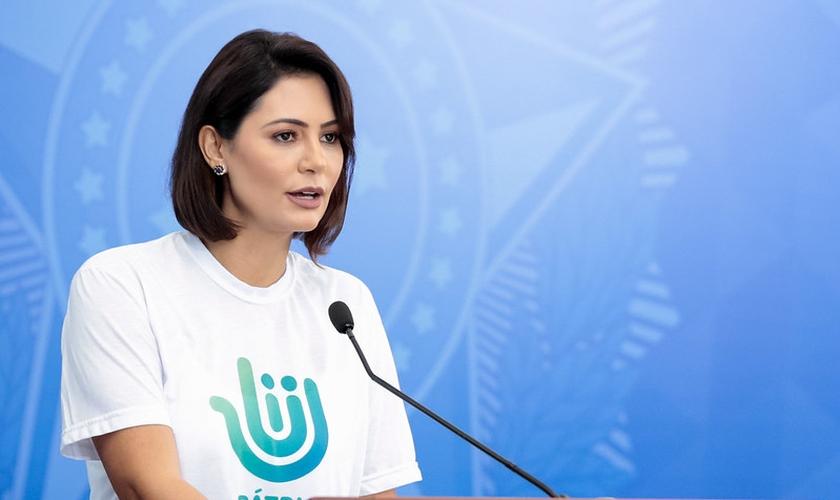 Palavras da Presidente do Conselho do Programa Pátria Voluntária, Michelle Bolsonaro. (Foto: Carolina Antunes/PR)