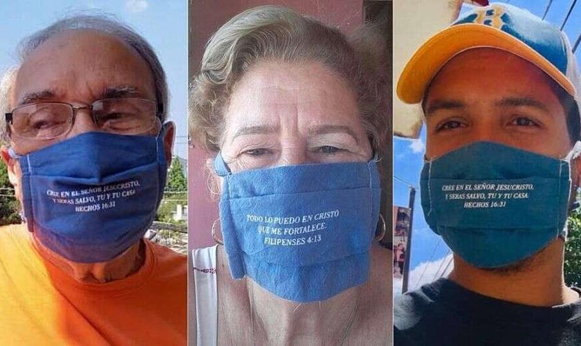 Máscaras para proteção durante pandemia estampam versículos bíblicos. (Foto: Reprodução/GOD TV)