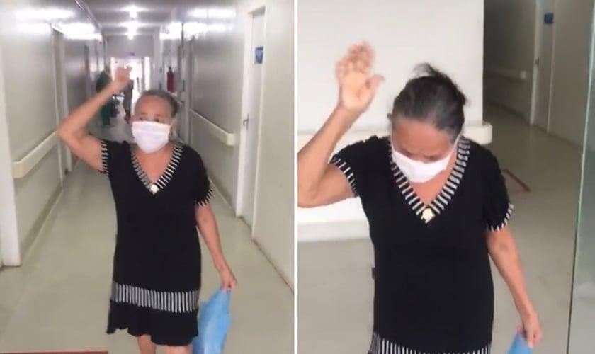 Ulda Reis, 67 anos, recebeu alta após 11 dias internada em Santa Inês, no Maranhão. (Foto: Reprodução/Facebook)