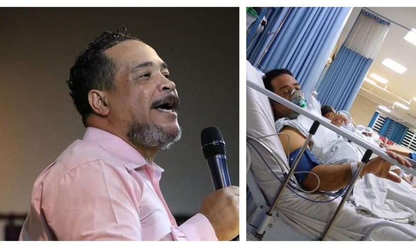 Reverendo Sergio Melo, antes e durante internação por Covid-19. (Foto: Reprodução/Facebook)