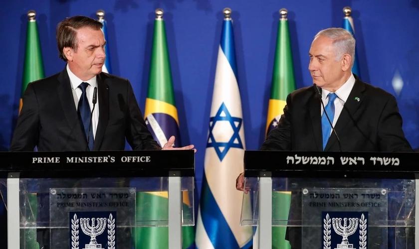 Jair Bolsonaro e Benjamin Netanyahu. (Foto: Alan Santos/PR)