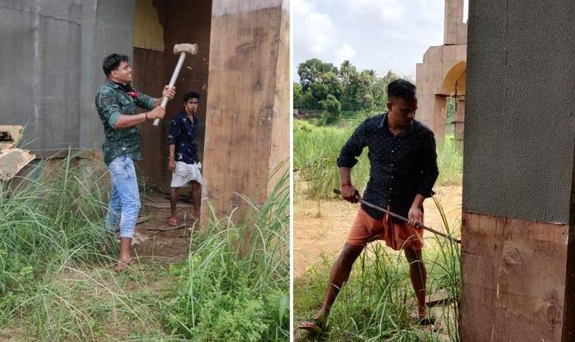 Nacionalistas hindus destroem um set de filmagem em Kerala, Índia, no domingo, 24 de maio de 2020. (Foto: Reprodução/Facebook)