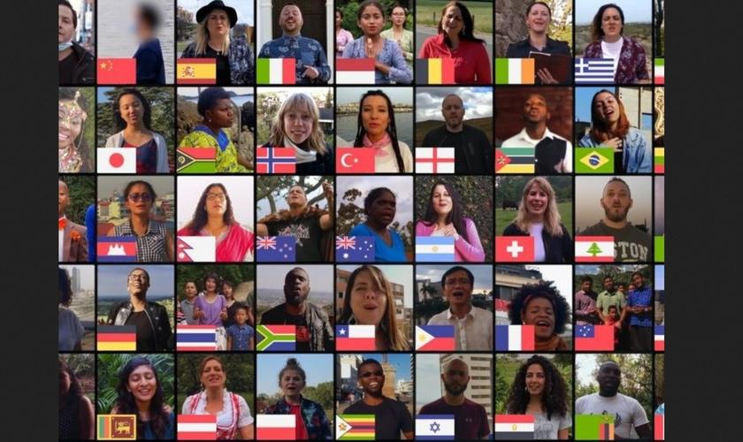 """Países se juntam para cantar """"Amazing Grace"""" e levar encorajamento em meio à pandemia. (Foto: Reprodução/GOD TV)"""