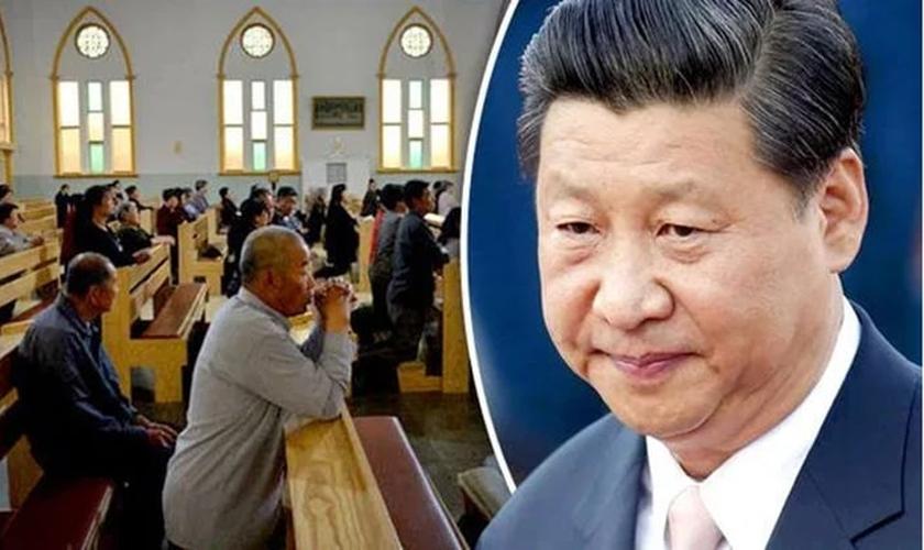 Em destaque, o presidente do governo comunista chinês, Xi Jinping. (Foto: Reprodução/China Aid)