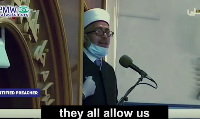 Pregador islâmico não identificado prega guerra contra Israel. (Foto: Reprodução/YouTube/PMW)