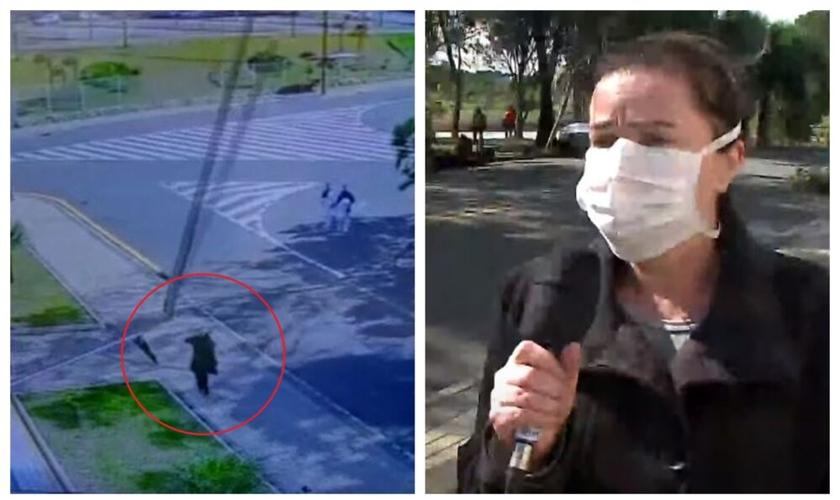 Câmeras de segurança filmam momento em que mulher quase foi atingida por um poste em Curitiba. (Foto: Reprodução/RIC Record Tv)
