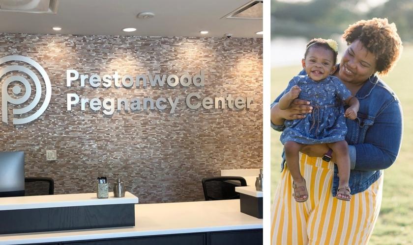 Unidade da Prestonwood Pregnancy Center e uma mãe com seu filho, atendida pela instituição. (Foto: Reprodução / BP Press)