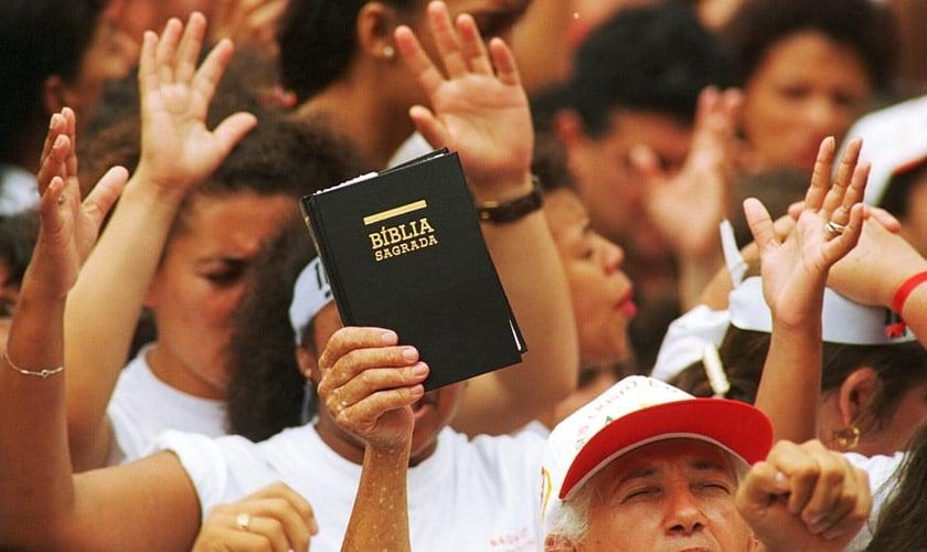 Concentração de evangélicos durante evento. (Foto: Masao Goto Filho/AE/VEJA)