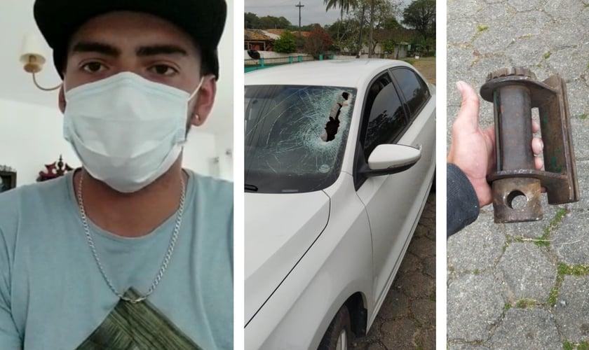 João Paulo Huttl e a peça que atingiu o para-brisa de seu carro. (Foto: Reprodução / Facebook)