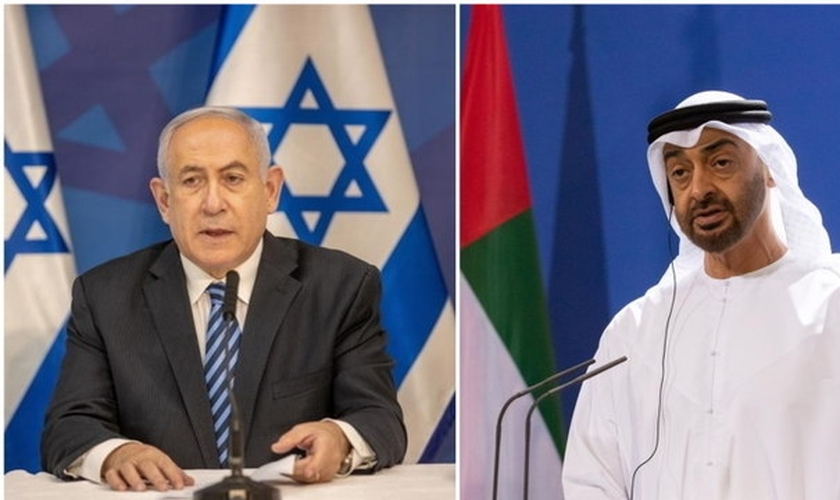 Premiê de Israel, Benjamin Netanyahu, e xeique Mohammed Bin Zayed, dos Emirados Árabes. (Fotos: Reprodução / EFE)