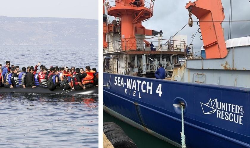 O Sea Watch 4 se prepara para sair ao mar em missão de resgate de imigrantes. (Foto: United4Rescue NGO/Philipp Guggenmoos)