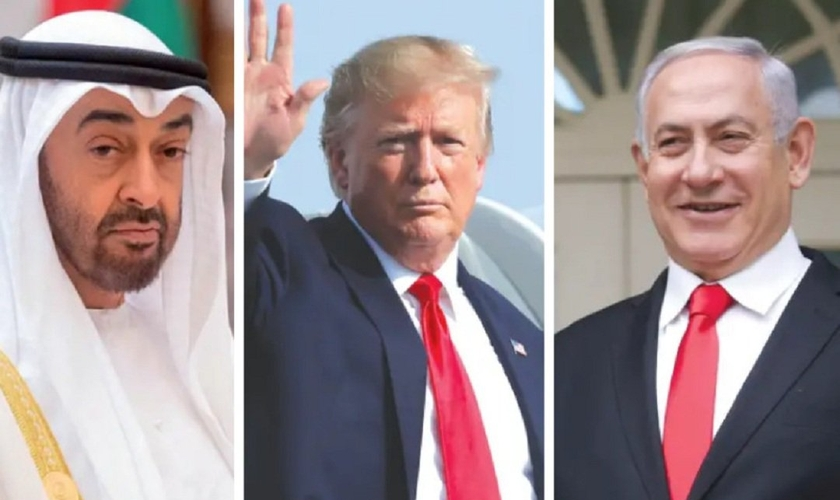 Sheik Mohammed Bin Zayed, príncipe herdeiro de Abu Dhabi, presidente dos EUA, Donald Trump, e primeiro-ministro de Israel, Benjamin Netanyahu. (Foto: Reuters)