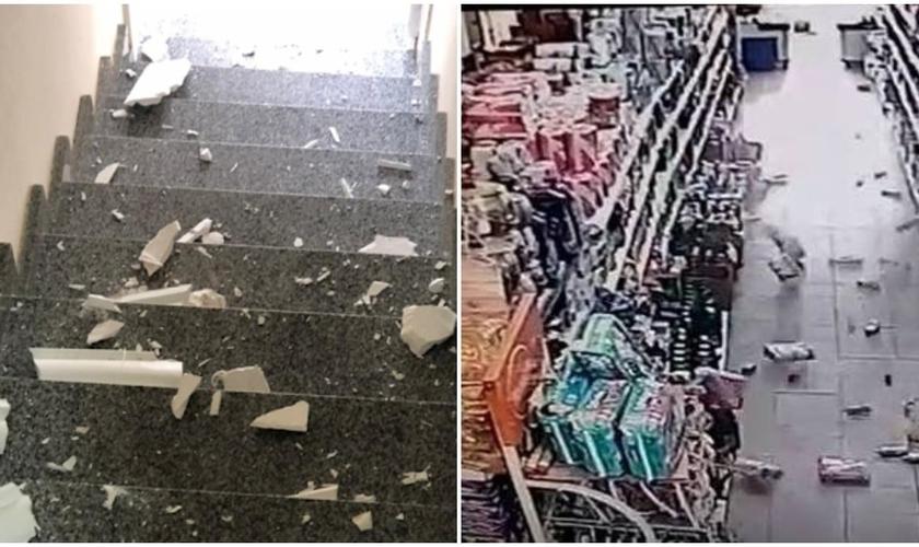 Imagens mostram danos provocados por terremoto de magnitude de 3,5 que atingiu o Recôncavo Baiano. (Foto: Reprodução / Nova Iguassu Online)