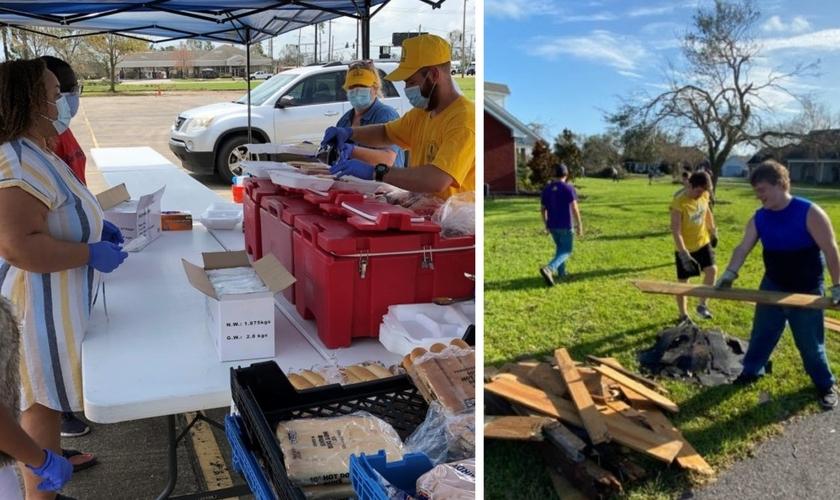 Voluntários servem comida para desabrigados e limpam destroçoes em Lake Charles. (Foto: Reprodução / BP Press)