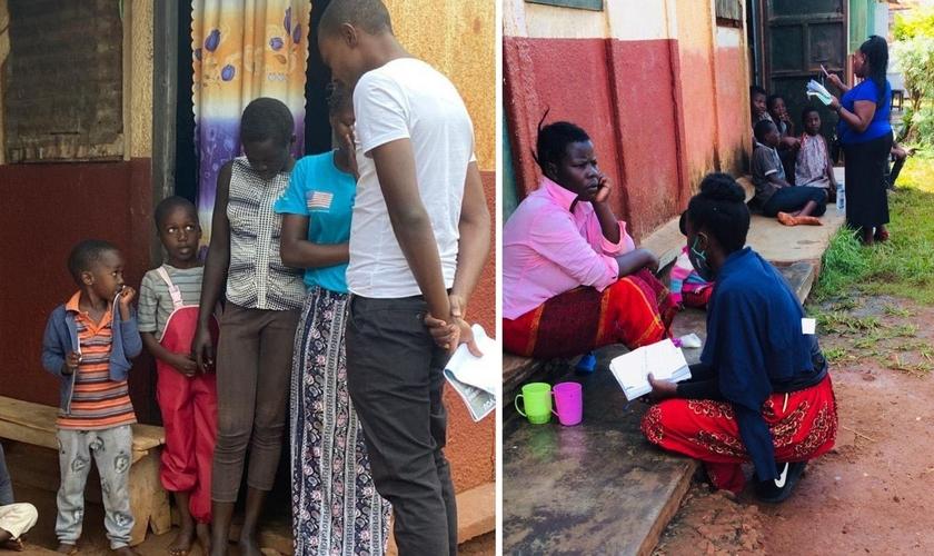 Evangelistas oram com famílias, no leste de Uganda. (Foto: Reprodução / UGCN)