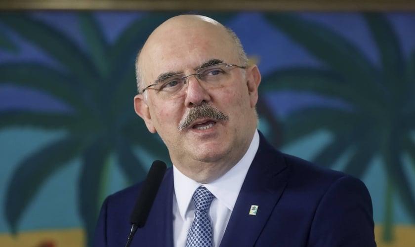 O ministro da Educação, Milton Ribeiro, discursou no Palácio do Planalto. (Foto: Isaac Nóbrega/PR)