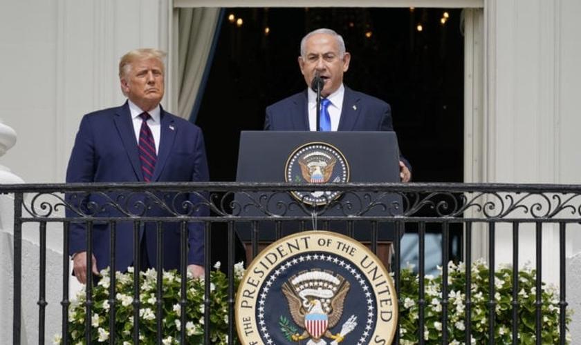 O primeiro-ministro Benjamin Netanyahu fala durante a cerimônia de assinatura do Acordo de Abraão, em 15 de setembro de 2020, na Casa Branca. (Foto: AP / Alex Brandon)