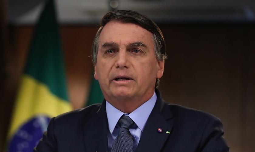 Presidente da República Jair Bolsonaro, durante gravação de discurso para a 75ª Assembleia Geral da ONU. (Foto: Marcos Corrêa/PR)