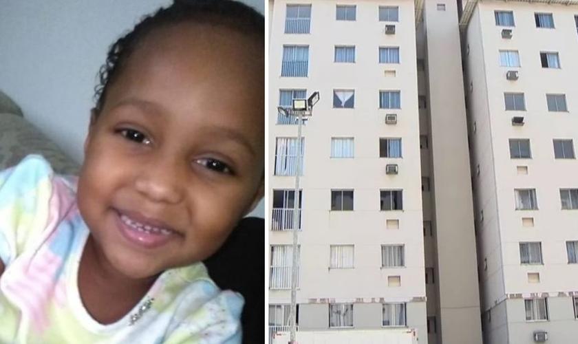Menina Ana Júlia e a fachada do prédio de onde ela caiu da janela do sexto andar. (Foto: Reprodução / TV Gazeta)