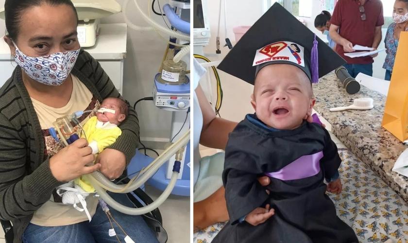Selma e seu bebê, que nasceu com 620 gramas deixou hospital após 5 meses, com chapéu de formatura. (Foto: Selma Barbosa/Arquivo pessoal)