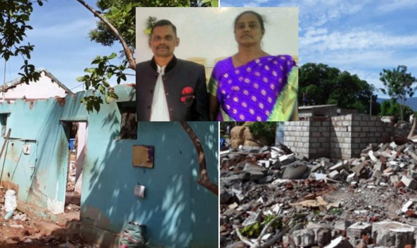 Igreja e casa destruídas por retroescavadeira; no destaque, o Pr. Jayapaul e sua esposa. (Foto: Reprodução / God Reports)