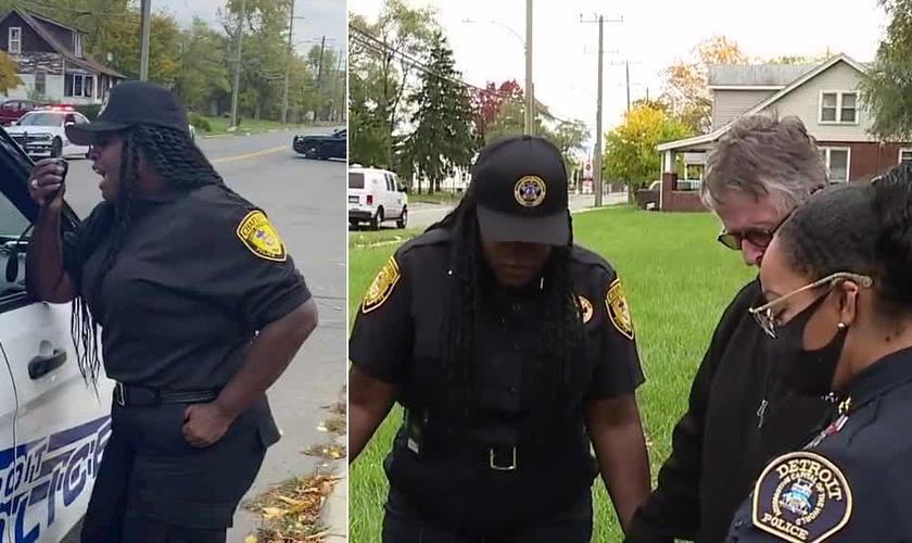 A policial Nora Jones usou um alto-falante da viatura para orar. (Foto: Reprodução/WXYZ/Montagem do Guiame)