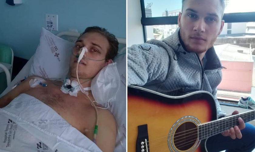 Mateus Perondi de Lima com seu violão e antes, internado após ter sofrido grave acidente. (Foto: Reprodução / Lance Notícias)
