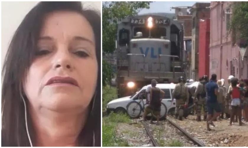 Carro de Luciane Aparecida foi arrastado por um trem; imagens circularam na última semana. (Foto: Reprodução / Globo)