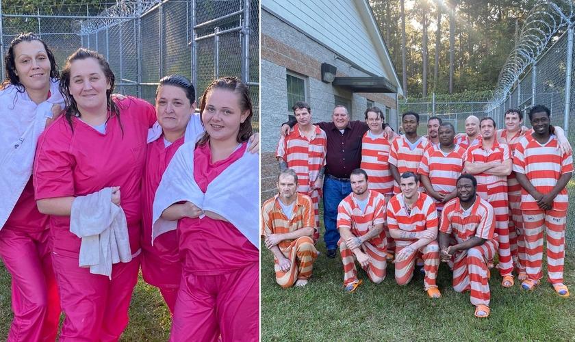 Presos foram batizados por um ministério de prisão nos EUA. (Foto: Gabinete do Xerife do Condado de Covington/Facebook)