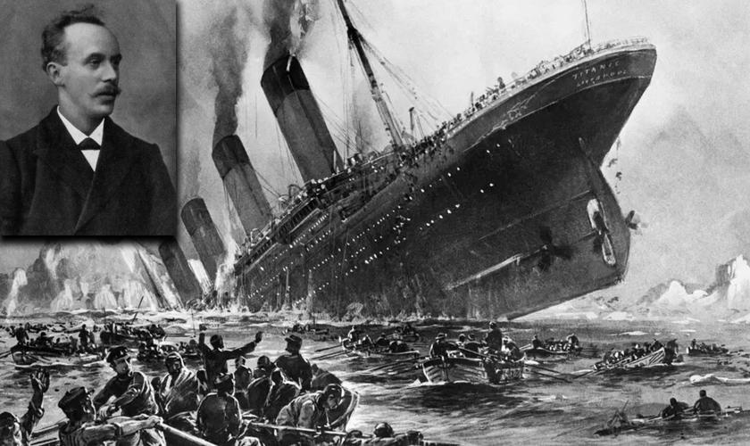 John Harper [destaque] e imagem do Titanic naufragando. (Foto: Montagem)