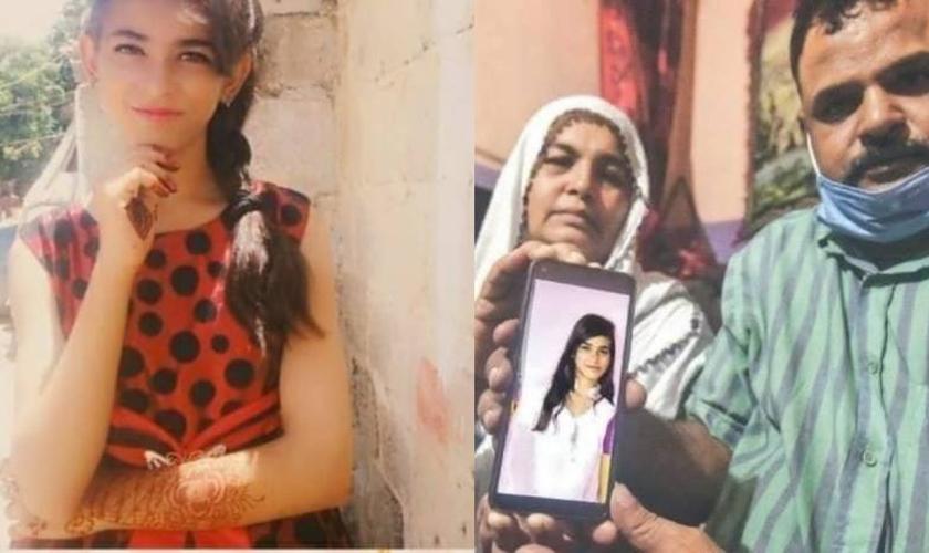 Arzoo Raja (à esquerda) tem apenas 13 anos e foi sequestrada e forçada a se casar com seu próprio sequestrador, um muçulmano de 44 anos, no Paquistão Sua faília (à direita) aguarda a resolução completa do caso. (Foto: Daily Pakistan)