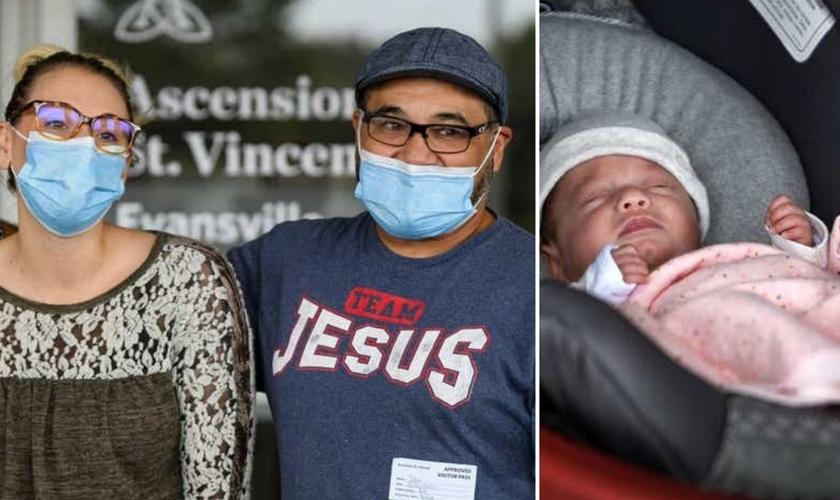 Miranda e Tobi Hernandez finalmente deixam o hospital com seu bebê Adelee. (Foto: Sam Owens / Courier Press)