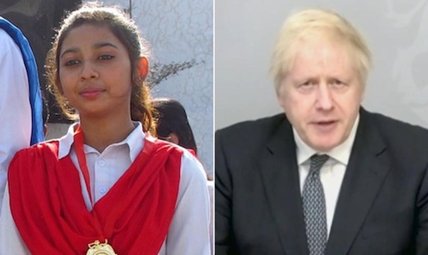 Maira Shahbaz (à esquerda) enviou uma 'carta' ao primeiro-ministro do Reino Unido, Boris Johnson (à direita), pedindo ajuda, enquanto teme por sua própria vida e de sua família, após fugir de um casamento islâmico forçado, no Paquistão. (Foto: Daily Mail)