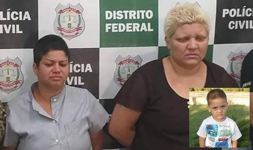 A mãe de Rhuan Maycon (à esq.) foi condenada junto com a companheira dela (à dir.) por matar e esquartejar o menino. (Foto: Divulgação/Polícia Civil e Reprodução/Facebook)