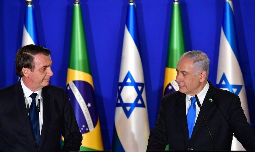 O presidente Jair Bolsonaro e o primeiro-ministro Benjamin Netanyahu. (Foto: Reprodução / United with Israel)