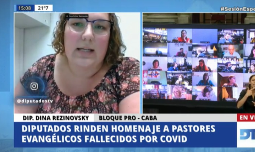 Congressistas prestam homenagem aos pastores que morreram na Covid-19 na Argentina. (Foto: Reprodução / Twitter)
