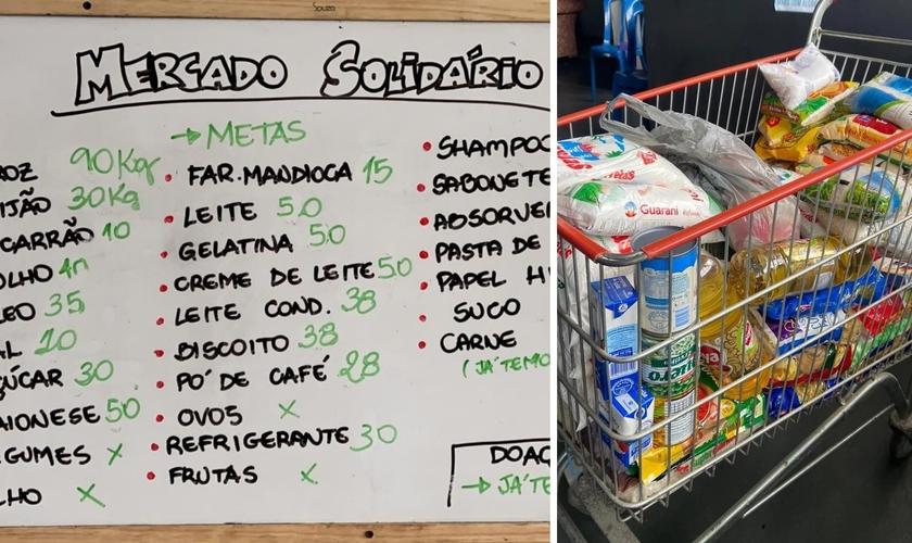 Famílias poderão encher o carrinho com produtos para a ceia de Natal no Mercado Solidário, em Petrópolis, no RJ. (Foto: Divulgação / Mevam Petrópolis)