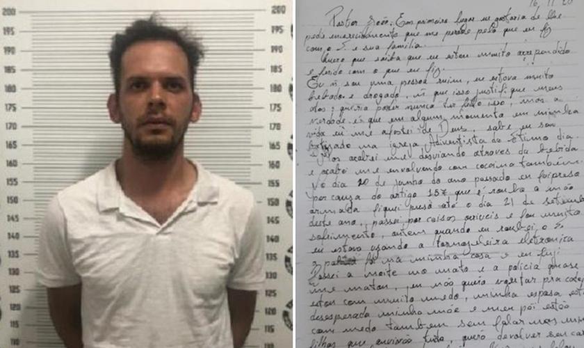 João Marcos Landmann roubou e depois devolveu carro de pastor, junto com uma carta. (Foto: Divulgação/Polícia Civil de GO)