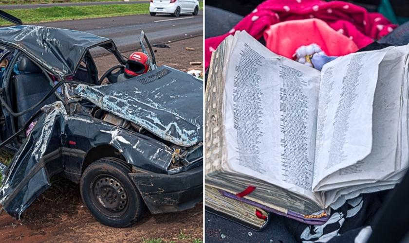 Veículo fica destruído após capotamento; Bíblias estavam dentro do carro. (Foto: Danilo Martins/OBemdito)