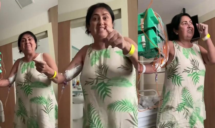 A mãe do cantor Marcos Freire, conhecida como Mama Alane, declarou palavras de fé no hospital. (Foto: Marcos Freire/Instagram)